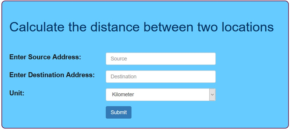 Calculate the distance between two locations using PHP