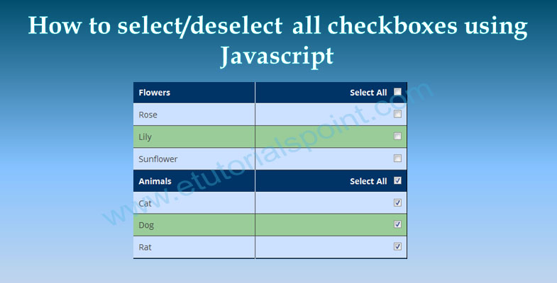 2019 updated] How to select/deselect all checkboxes using