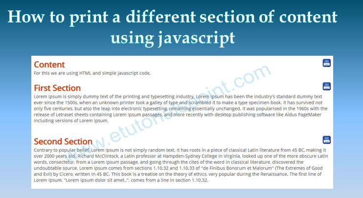 Print section of page using javascript