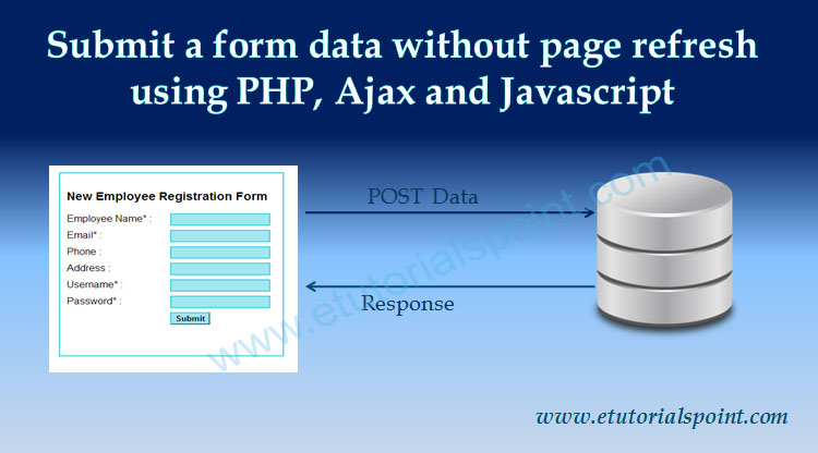 a form data using php ajax and javascript
