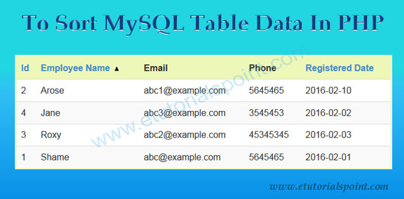2019 updated] How to Sort Table Data in PHP and MySQL